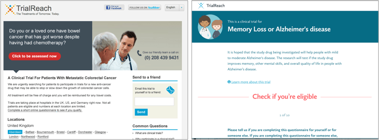 TrialReach homepage comparisons